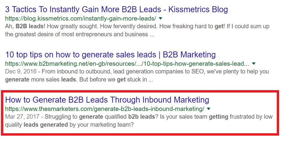 B2B Lead generation through Inbound Marketing